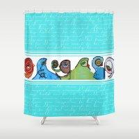 grafitti Shower Curtains featuring grafitti by Noush