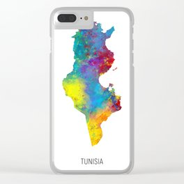 Tunisia Watercolor Map Clear iPhone Case