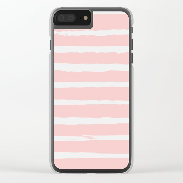 Irregular Hand Painted Stripes Pink Clear iPhone Case