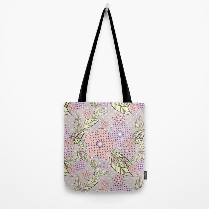 Flowers in polka dots. Tote Bag