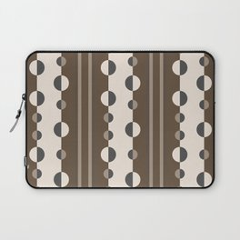 Geometric Circles and Stripes in Brown and Tan Laptop Sleeve