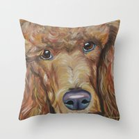 poodle Throw Pillows featuring Poodle by Melissa Smith Pet Art