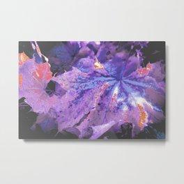 Abstract Purple Leaves Metal Print