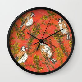 Goldfinches in Gorse Wall Clock