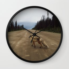 Road Fox Wall Clock