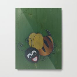 Bee in Black Metal Print