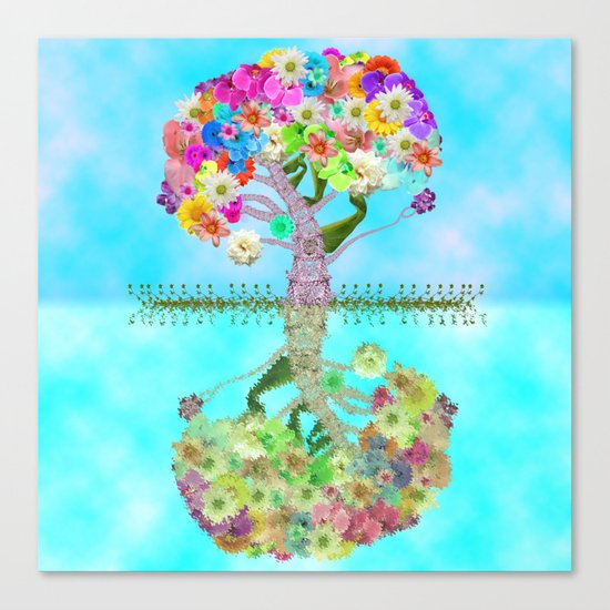 Cute Whimsical Bright Floral Tree Collage Teal Sky Canvas Print