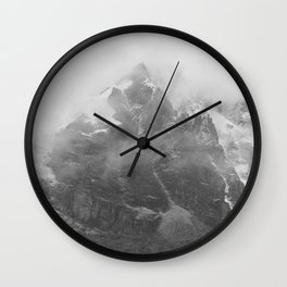 Rocky Mountain Fog B&W Wall Clock