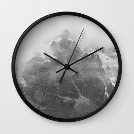 Rocky Mountain Fog B&W Wall Clock