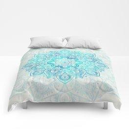 Turquoise Lace Mandala Comforters