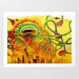 Jellyzilla destroys the Windy City Art Print