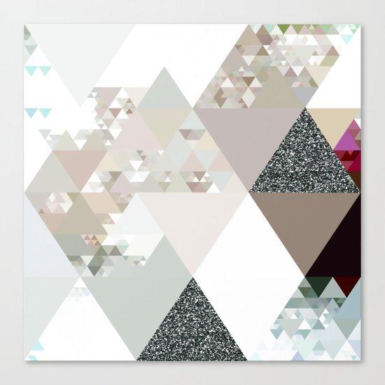 Triangles in glittering graphite quartz - Grey glitter triangle pattern Canvas Print