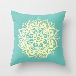 Mint Green and Gold Mandala Throw Pillow
