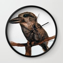 Barred Puff-bird (like a Kookaburra) in watercolour Wall Clock