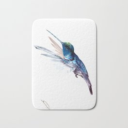 Hummingbird, Navy Blue Turquoise Artwork, minimalist bird art blue Bath Mat