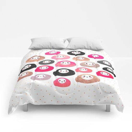 A bunch of happy blobs Comforters
