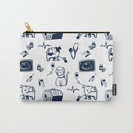 Dr Fluffton's medicine day Navy and White Carry-All Pouch