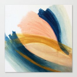 Slow as the Mississippi - Acrylic abstract with pink, blue, and brown Canvas Print