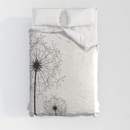 Black And White Dandelion Sketch Comforters