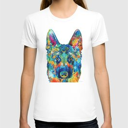 Colorful German Shepherd Dog Art By Sharon Cummings T-shirt