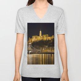 Budapest Chain Bridge And Castle Unisex V-Neck