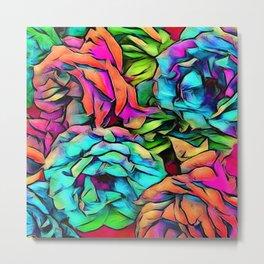Floral ArtStudio colorful roses, pink Metal Print