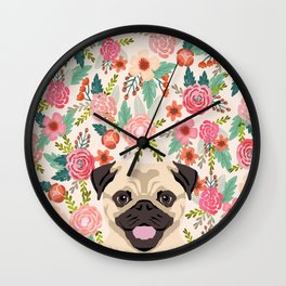 Pug floral dog portrait Pug dog peeking face gifts for dog lover pugs Wall Clock