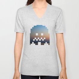 Pacman robot with clouds Unisex V-Neck