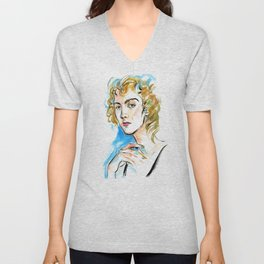 portrait of a woman with curly blond hair and green eyes Unisex V-Neck