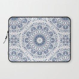 Grayish Blue White Flowers Mandala Laptop Sleeve