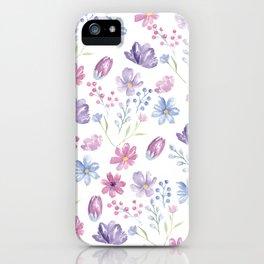 Elegant pink lavender blue watercolor modern floral iPhone Case