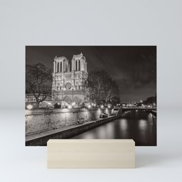 Notre Dame Cathedral, Paris, France on the River Seine black and white photograph / art photography Mini Art Print