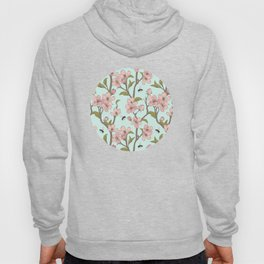 Lovely Cherry Blossom And Honey Bee Springtime Pattern Hoody