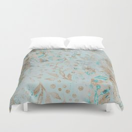 Pastel Botanical Watercolor Pattern Teal Gold Glitter Duvet Cover