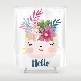 Hawaiian cat illustration. Shower Curtain