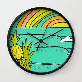 pineapple fields and endless summer vibes Wall Clock