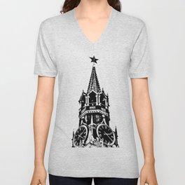 Kremlin Chimes-b&w Unisex V-Neck