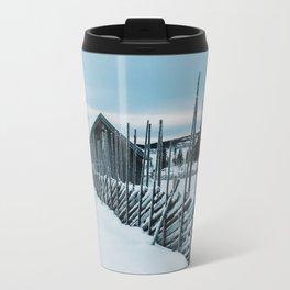 Remote Cabins in White Norwegian Winter Landscape Travel Mug