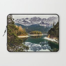 Green Blue Lake, Trees and Mountains Laptop Sleeve