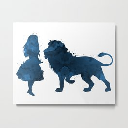 Lion and girl Metal Print