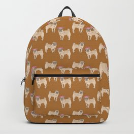cute little pug dogs girl and boy pattern Backpack
