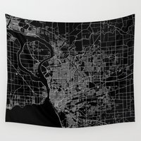 new york map Wall Tapestries featuring Buffalo map New York by Line Line Lines