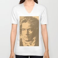 beethoven V-neck T-shirts featuring Beethoven Portrait  by Cool Prints