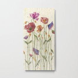 Watercolor Poppy Painting, Metal Print