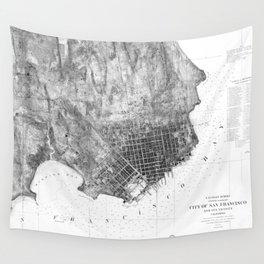Vintage Map of San Francisco California (1858) BW Wall Tapestry