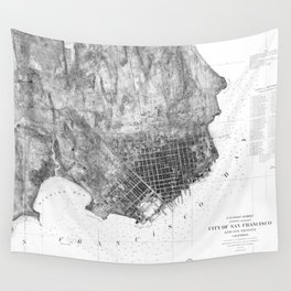 Vintage Map of San Francisco California (1858) BW Wall Tapestry