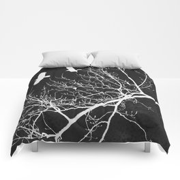 Crows Flying Over Trees Negative Silhouette Comforters