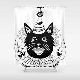 Halloween Party Cat Shower Curtain