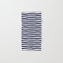 Navy Blue and White Horizontal Stripes Hand & Bath Towel