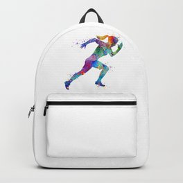 Girl Running Track and Field Art Colorful Watercolor Sports Gift Backpack